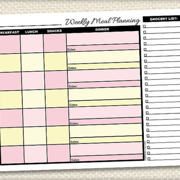 Printable Weekly Meal Planning with Grocery List - Pink and Yellow Meal Planner - Instant Download
