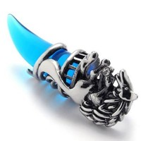 KONOV Jewelry Wolf Tribal Mens Stainless Steel Necklace Pendant Silver Blue 18-26 inch Chain