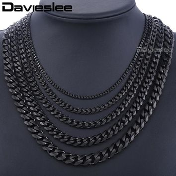 Davieslee Men's Chain Black Gold Silver Curb Cuban Link Stainless Steel Necklace for Men HipHop Jewelry DLKNM09