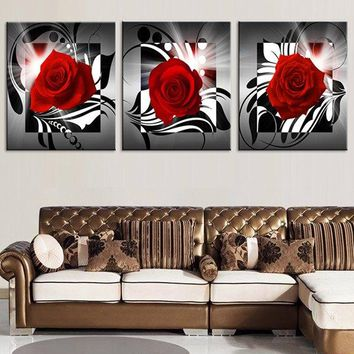 Romantic Rose Printed Wall Art Canvas Paintings