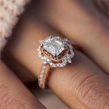 Vintage Rose Gold Ring Band For Women Boho Princess Zircon Engagement Ring  Romantic Wedding Rings For a8d2e8e0b