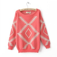 Geometric Diamond Pattern Sweater