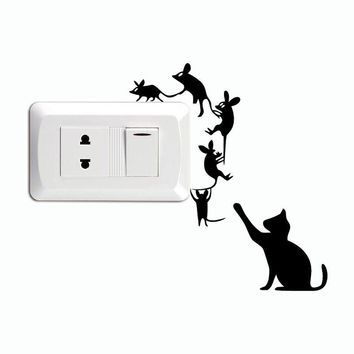 Creative Cat Catch Mice Switch Wall Decal Sticker