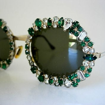 Tura Round Frames Jeweled Oversized Emerald Green & Clear Baguettes Pear Marquise Rhinestones Rare Vintage Eyeglass Larger Size Repaired