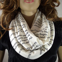 Love Poems text Infinity Scarf...Emily Dickinson....Circle scarf....Hand Printed Scarf....Ivory Scarf...Romatic Christmas Gift