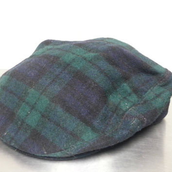 Vintage Pendleton Green Plaid Cabbie Newsboy Cabbie Hat Size Large Made In USA Portland Oregon Hipster Style Dad Hat Golf Cap Fall Fashion