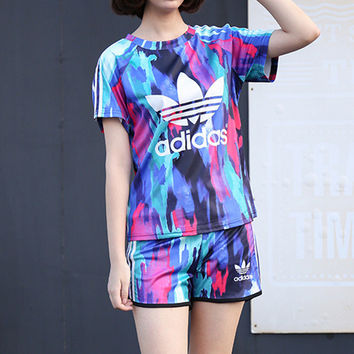 """Adidas"" Fashion Casual Clover Letter Camouflage Print Short Sleeve Set Two-Piece Sportswear"