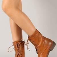 Yency-4 Leatherette Lace Up Round Toe Mid Calf Boot