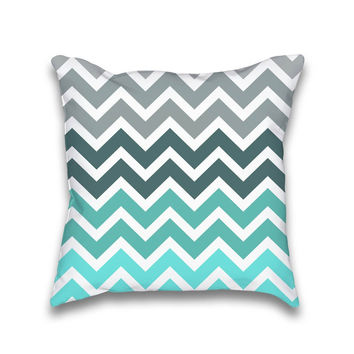Tiffany Turquoise Grey Fade Chevron Pattern Throw Pillow
