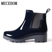 2017 Platform Rain Boots Ladies Rubber Ankle Boots Low Heels Women Boots Slip On Flats Shoes Woman Plus Size 36-40 R039W
