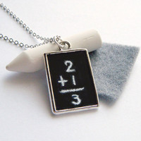 Miniature Jewelry - Chalkboard Necklace, Blackboard Chalk Board Pendant with White Chalk and Eraser, Back to School - 'Scribbles'