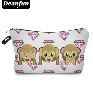 Deanfun 3D Printed Cosmetic Bags Emoji Monkey Funny for Travelling Women Necessarie Makeup Storage Dropshipping 50077