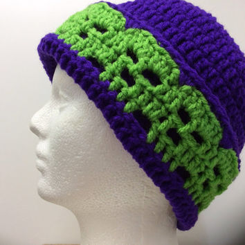 Adult skull beanie, Halloween beanie, gift idea, ski hat, snow hat, skull hat, purple, green, ATV hat, hand crochet hat