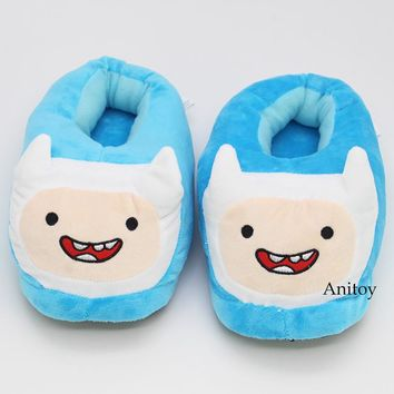 Adventure Time with Finn and Jake Finn Jack Plush Slippers Soft Toys Home Indoor Floor Winter Women Men Plush Shoes