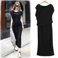 Black Cap Sleeve Blouson Casual Midi Dress
