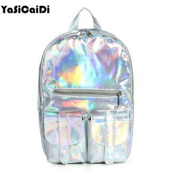 2017 Mochila Masculina backpack Women Silver Hologram Laser Women Backpack men's Bag leather Holographic Backpack Multicolor