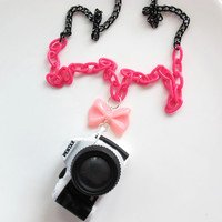 Japan Kawaii Gyaru Harajuku Zipper Style Pink Fairy Kei Ribbon Bow, Toy Pendant Professional DSLR Camera Miniature Long Chunky Necklace
