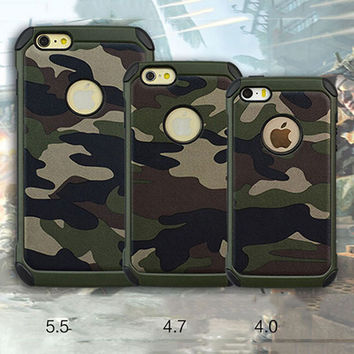 2 in 1 Army Camo Blue Beige Black Brown & Green Camouflage Pattern Back Cover Hard Plastic and Soft TPU Armor Protective Phone Cases for iPhone 5 5s SE 6 6s 6 Plus 6s Plus