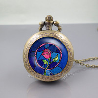 Beauty and the Beast Pocket Watch Locket Necklace,Beauty and the Beast Flowers Rose,vintage pendant Pocket Watch Locket Necklace