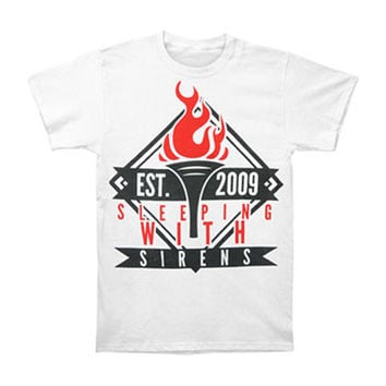 Sleeping With Sirens Men's  Torch T-shirt White Rockabilia