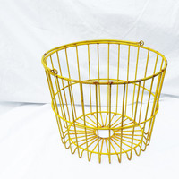 Yellow Wire Egg Basket, Vintage Farm Fresh Produce; Industrial Farm Decor and Storage