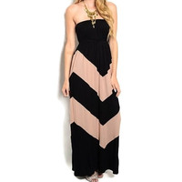 Black and Taupe Chevron Maxi Dress