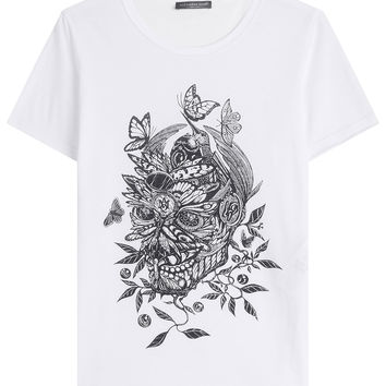 Printed Cotton T-Shirt - Alexander McQueen | WOMEN | US STYLEBOP.COM