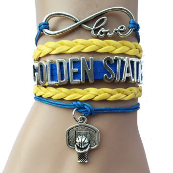 Infinity love Golden State Basketball Bracelets- Basketball Charm Leather Braid Sports Fans Friendship Gift