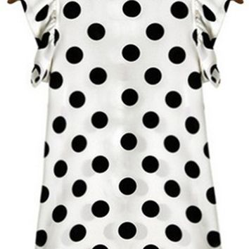 Streetstyle  Casual Round Neck Ruffle Trim Polka Dot Sleeveless T-Shirt