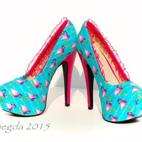 Flamingo a-go-go -custom heels-personalized- retro- rockabilly party pumps- wedding shoes- custom- personalized- prom-  graduation