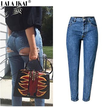Cotton Ladies Denim Pants Ripped Vintage 2017 Jeans Skinny Sexy Hip Destroyed Hole Jean Female High Wasit Women Pants KWA0159-45