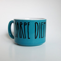 Carpe Diem Hand Illustrated Teal Hand Illustrated Mug by Farizula