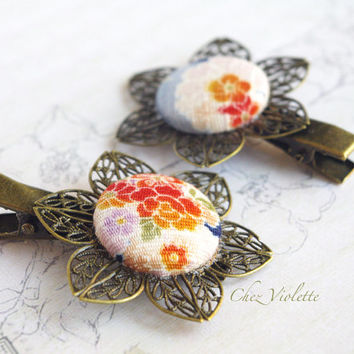 2 hair clip Barrette Japanese fabric hair clips button Romantic hair Jewelry Floral hairstyles fancy