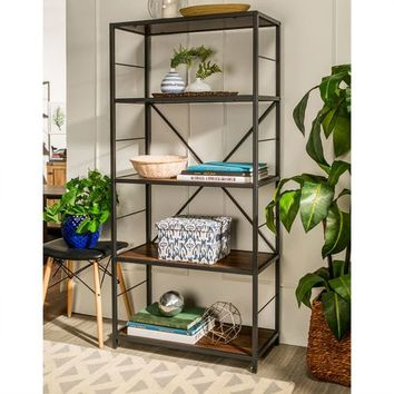 "Dark Walnut 60"" Rustic Metal and Wood Bookshelf"