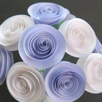 """Pure White & Lilac Purple Spiral Paper flower Centerpiece 12 rolled 1.5"""" paper rose one dozen Cardstock roses 12 flowers on stems Lavender"""