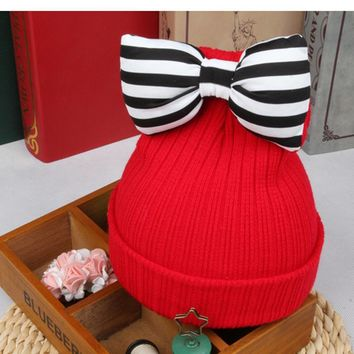 Striped Bow Kids Woolen Hat