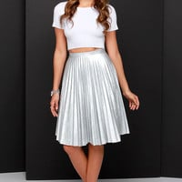Beauty and the Pleats Silver Vegan Leather Midi Skirt