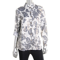 Charter Club Womens Petites Printed Metallic Button-Down Top