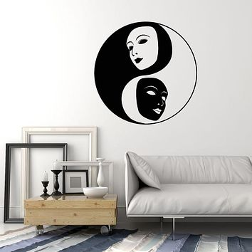 Vinyl Wall Decal Yin Yang Symbol Buddhism Face Masks Theater Stickers (3581ig)