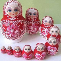 TStoy Hot Sale 10 layers Beautiful Doll Wooden Toys Matryoshka Doll Kids Gift Russian Nesting Dolls Baby Toy Girl Doll red
