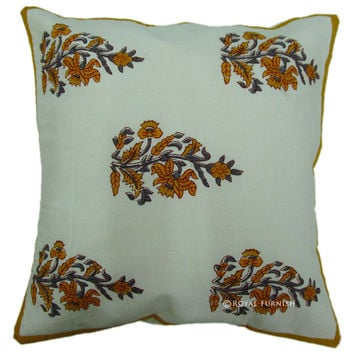 White Hand Block Orange Floral Throw Cotton Decorative Cushion Cover