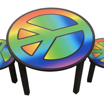 Childrens peace sign activity table and chair set