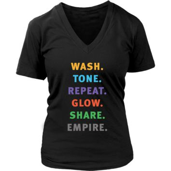 Wash Tone Repeat Rodan and Fields Conversation Starter Tee  V Neck