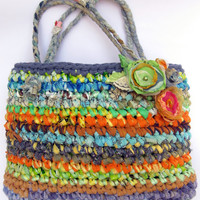 Large playful crocheted purse / mini tote ... Made to order... eco friendly