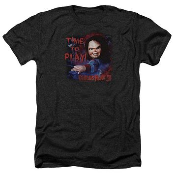 Childs Play Heather T-Shirt Chucky Time To Play Black Tee