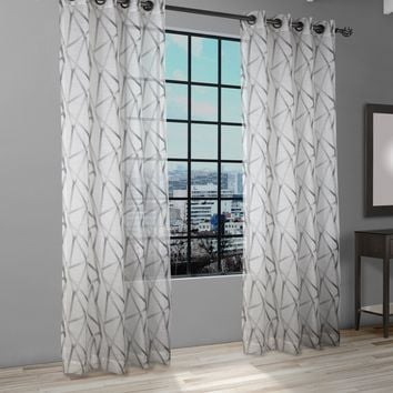 INTERSECTION PRINTED SHEER CURTAIN PANELS - (PAIR)