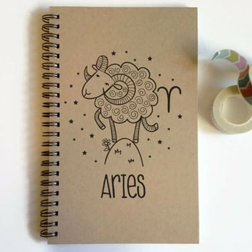 Writing journal, spiral notebook, cute diary, small sketchbook, scrapbook, memory book, 5x8 journal - Aries, zodiac sign, astrology