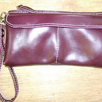 purple 3 pocket pouch leather man's bag