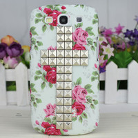 Rose Hard Shell And Silvery  Stud Cross  for Samsung Galaxy S3 i9300