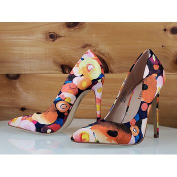 "Red Cherry Orange Multi Floral Fruit Pointy Toe Pump Shoe 4.5"" High Heels"